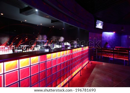 colorful interior of bright and beautiful night club - stock photo