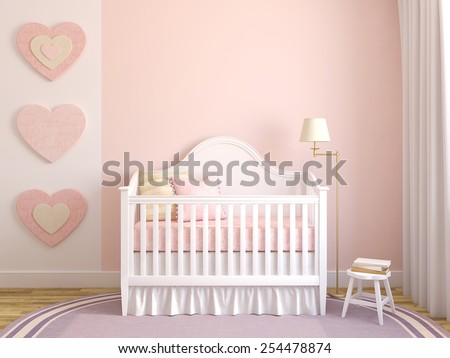 Colorful interior of nursery. Frontal view. 3d render. - stock photo