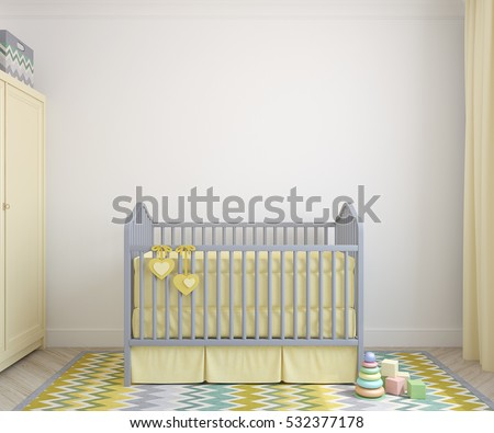 Colorful interior of nursery. Frontal view. 3d render.