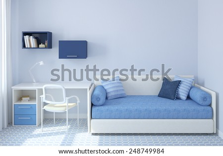 Colorful interior of playroom. 3d render. - stock photo