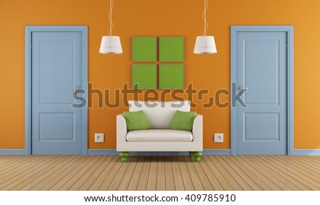 colorful interior with two blue doors and armchair -3d rendering - stock photo