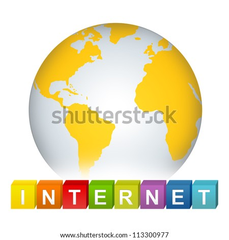 Colorful Internet Cube Box With Yellow Earth For Internet And Network Concept Isolated on White Background