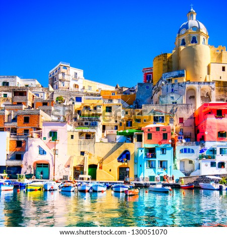 Colorful island of Procida, Naples - Italy - stock photo