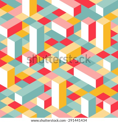 Colorful Isometric Seamless Pattern. Random Puzzle  Background. Geometric Graphic Pixel Lego Blocks. - stock photo