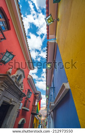 Colorful Jaen Street, the best preserved colonial street in La Paz, Bolivia - stock photo