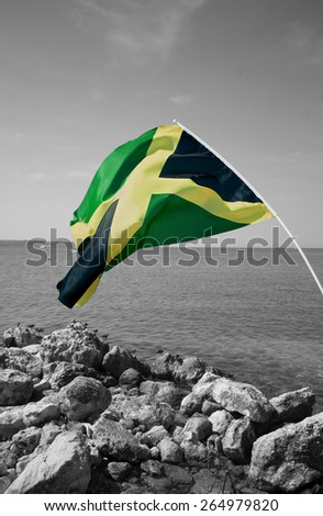 Colorful jamaican flag over black and white seascape - stock photo
