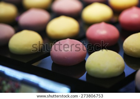 "Colorful Japanese dessert called ""mochi"" (glutinous rice)"