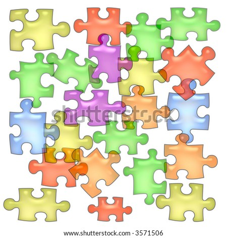 colorful jell puzzle pieces  scattered on white  background