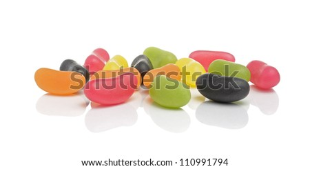 Colorful jelly beans isolated on white background - stock photo