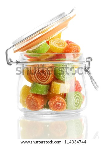 colorful jelly candies in glass jar isolated on white - stock photo