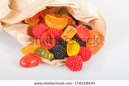 colorful jelly candies in pack - stock photo