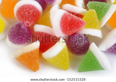 colorful jelly candies isolated on white background - stock photo