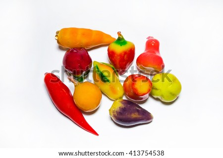 Colorful jelly candies on white - stock photo