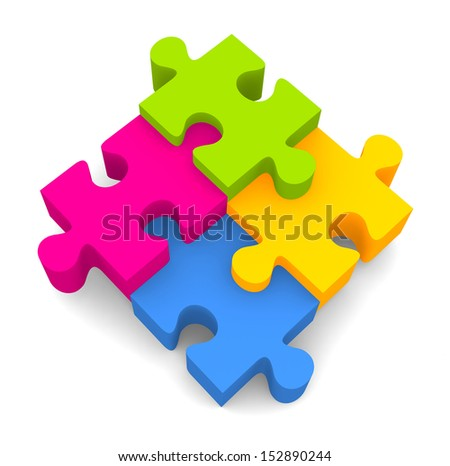 colorful jigsaw puzzle isolated on white
