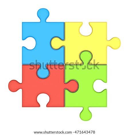 Colorful jigsaw puzzle pieces concept isolated over white background. 3D rendering.