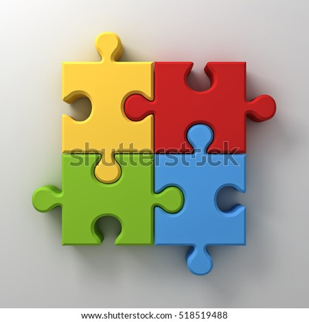 Colorful jigsaw puzzle pieces concept on white wall background with shadow. 3D rendering.