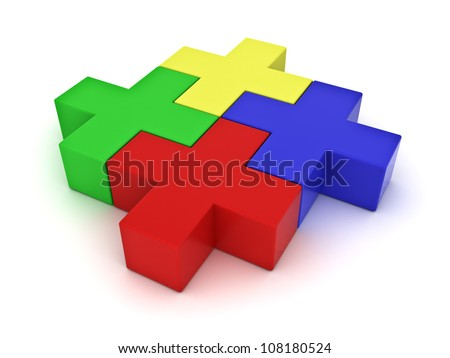 Colorful jigsaw puzzles on white background - stock photo