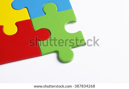 Colorful jigsaw puzzles with copy space