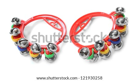 Colorful jingle bells on a white background. - stock photo