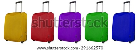 Colorful  journey suitcases isolated on white background. - stock photo