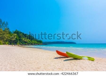 Colorful kayak boat on beautiful tropical beach and sea - Boost up color Processing