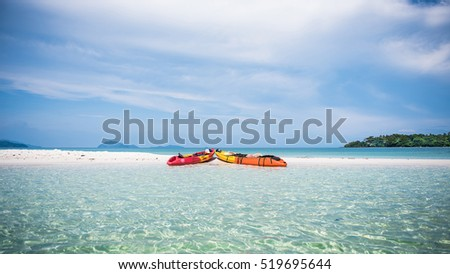 Colorful Kayak on beach in summer