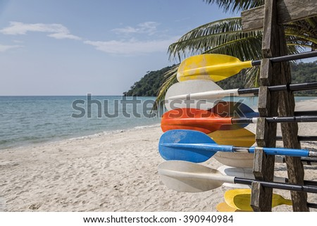 Colorful kayaks align the waters of Gloucester, Summer, Travel, Vacation and Holiday concept - Colorful kayaks on the tropical beach, Thailand - stock photo