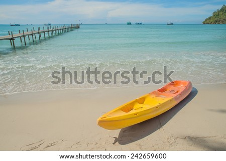 Colorful kayaks on the tropical beach sea. Summer travel in Phuket,Thailand - stock photo