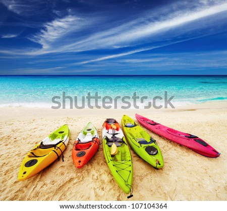 Colorful kayaks on the tropical beach, Thailand - stock photo