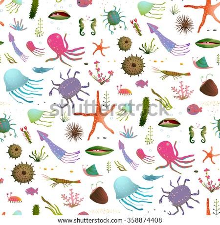 Colorful Kids Cartoon Sea Life Seamless Pattern Background on White. Childish underwater animals cute backdrop tileable design illustration. Raster variant. - stock photo