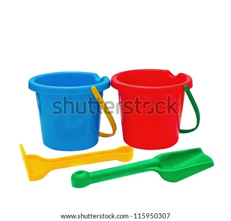 Colorful kids garden tools, toy buckets set