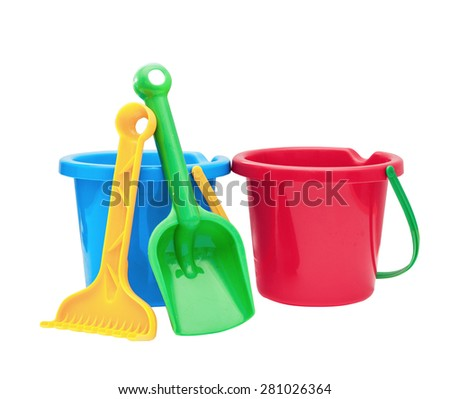 Colorful kids garden tools, toy buckets set - stock photo