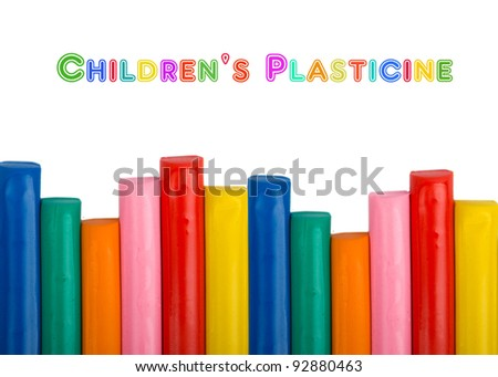 Colorful kids plasticine on white background
