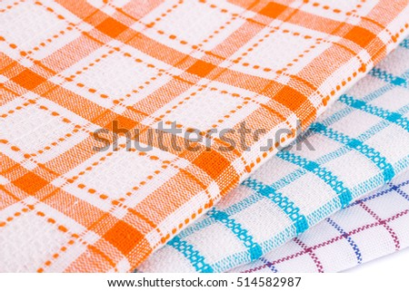 Colorful kitchen towels closeup picture.