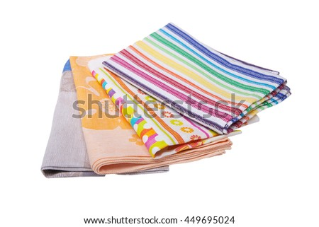 Colorful kitchen towels with stripes,polka dots and flowers on white  background