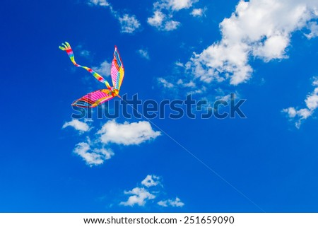 Colorful kite flying in the wind. - stock photo