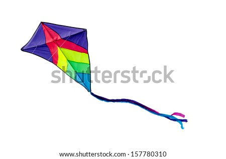 Colorful kite flying isolated on white background - stock photo