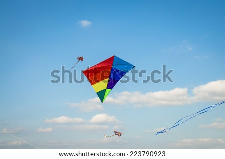 colorful kite flying on blue sky