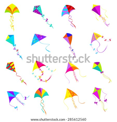 Colorful kite icons set.Toy design, object group for activity game, fly freedom - stock photo