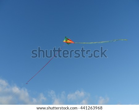 colorful kite in the sky - stock photo
