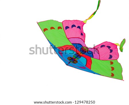 Colorful kite isolated on white background - stock photo