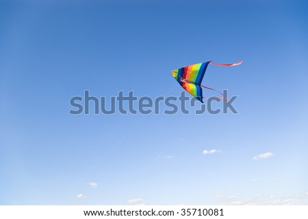 colorful kite on clear blue sky