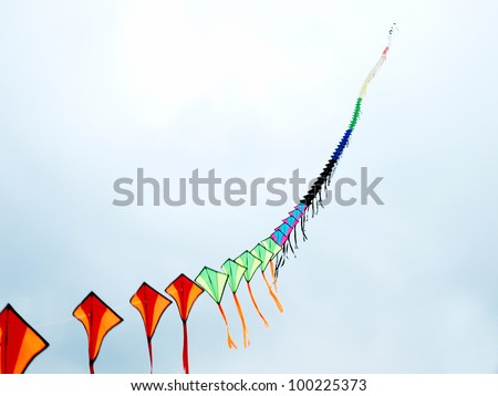 Colorful kites flying in the cloudy sky