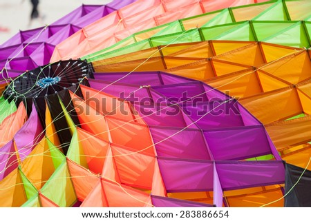 colorful kites in the blue sky - stock photo