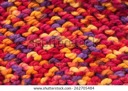 colorful knitted background close-up - stock photo