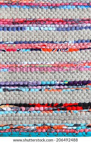 colorful knitted cloth reuse closeup of crochet rag rug