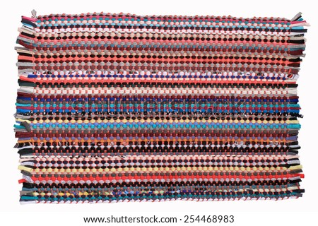 Colorful knitted cloth reuse Closeup of crochet rag rug  this has clipping path.