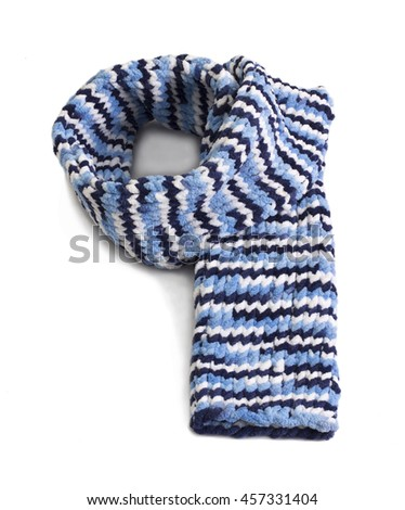 Colorful knitted wool scarf isolated on white background - stock photo