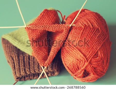 colorful knitting and threads - stock photo