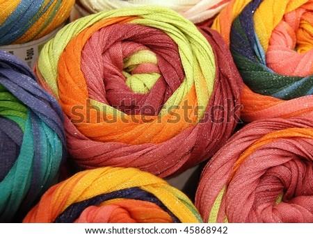 Colorful knitting yarns - stock photo